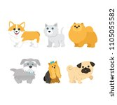 cute dogs on white background... | Shutterstock .eps vector #1105055582