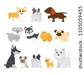 cute dogs on white background.... | Shutterstock .eps vector #1105059455