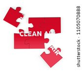 realistic red six pieces of...   Shutterstock . vector #1105070888