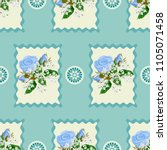 seamless floral patchwork... | Shutterstock .eps vector #1105071458