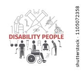disabled people banner. vector... | Shutterstock .eps vector #1105072358