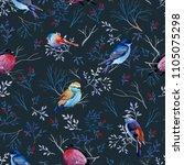 seamless pattern of gouache...   Shutterstock . vector #1105075298