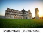 leaning tower of pisa in pisa ... | Shutterstock . vector #1105076858