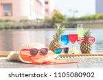 summer funny  pineapple in... | Shutterstock . vector #1105080902