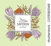 background with saffron  flower ... | Shutterstock .eps vector #1105083368
