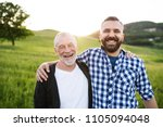 a portrait of an adult hipster... | Shutterstock . vector #1105094048