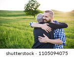 an adult hipster son with...   Shutterstock . vector #1105094075