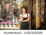 florist in her shop  | Shutterstock . vector #1105102028