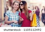 two happy women enjoying in... | Shutterstock . vector #1105112492