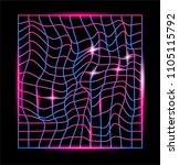 distorted neon laser mesh on...   Shutterstock .eps vector #1105115792