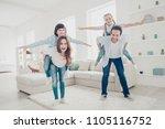 portrait of cheerful positive... | Shutterstock . vector #1105116752