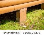 cinder block foundation house...   Shutterstock . vector #1105124378