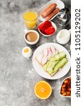 various healthy breakfast on... | Shutterstock . vector #1105129202