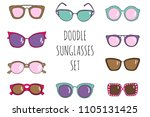 doodle hand drawn sunglasses... | Shutterstock .eps vector #1105131425