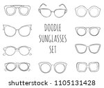 doodle hand drawn sunglasses... | Shutterstock .eps vector #1105131428