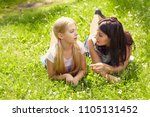 talking mother and daughter for ... | Shutterstock . vector #1105131452