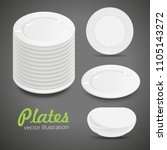 set of empty white plate on the ... | Shutterstock .eps vector #1105143272