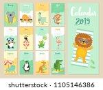 calendar 2019. cute monthly... | Shutterstock .eps vector #1105146386