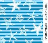 sea stars seamless vector print.... | Shutterstock .eps vector #1105148588