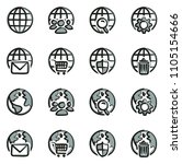 globe app icons freehand 2 color | Shutterstock .eps vector #1105154666