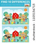 find differences game for kids  ... | Shutterstock .eps vector #1105156715
