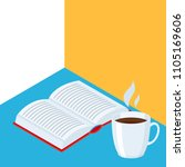 isometric icon book with coffee.... | Shutterstock .eps vector #1105169606