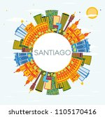 santiago chile skyline with... | Shutterstock .eps vector #1105170416