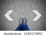 outdoor shoes standing at the...   Shutterstock . vector #1105173902