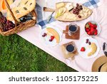 summer picnic with cheese  wine ... | Shutterstock . vector #1105175225