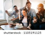 young group of happy friends... | Shutterstock . vector #1105191125