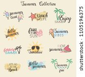 summer stickers collection  ... | Shutterstock .eps vector #1105196375