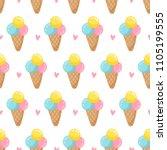 ice cream pattern. seamless... | Shutterstock .eps vector #1105199555