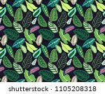 seamless tropical  leaf pattern.... | Shutterstock .eps vector #1105208318