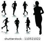 running silhouettes with... | Shutterstock .eps vector #110521022