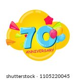 cute cartoon template 70 years... | Shutterstock . vector #1105220045
