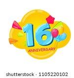 cute cartoon template 16 years... | Shutterstock . vector #1105220102
