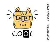 cool cat slogan and face cat... | Shutterstock .eps vector #1105231985