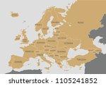 political europe map vector...   Shutterstock .eps vector #1105241852