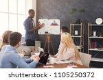 businessman giving presentation ... | Shutterstock . vector #1105250372