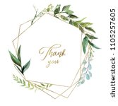 Stock photo watercolor floral illustration leaf wreath frame with gold geometric shape for wedding 1105257605