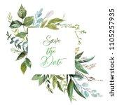 watercolor floral illustration  ... | Shutterstock . vector #1105257935