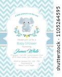baby shower boy invitation | Shutterstock .eps vector #1105264595