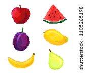 set of fruit pixel | Shutterstock .eps vector #1105265198