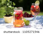 strawberry lemonade drink ... | Shutterstock . vector #1105271546