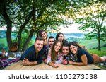 group of friends making... | Shutterstock . vector #1105273538