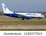 Small photo of Borispol, Ukraine - May 26, 2018: YR-BMA Blue Air Boeing 737-700 aircraft running on the runway of Borispol International Airport. Editorial use only
