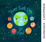 cartoon earth illustration.... | Shutterstock . vector #1105290656