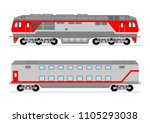train and double decker wagons | Shutterstock .eps vector #1105293038