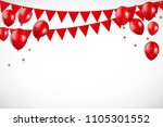 glossy red balloons and flaf... | Shutterstock .eps vector #1105301552