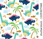 cute dino seamless pattern. | Shutterstock .eps vector #1105307468